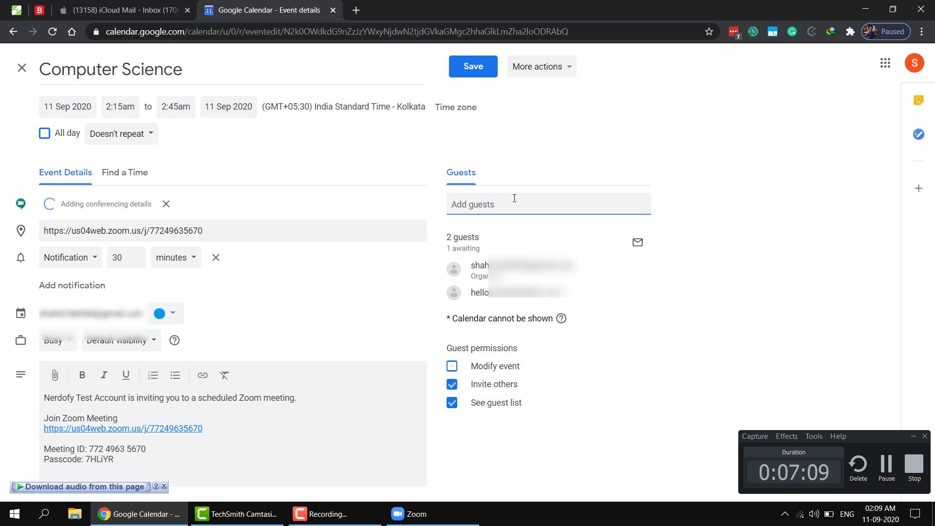 Meeting invitation through google calendar