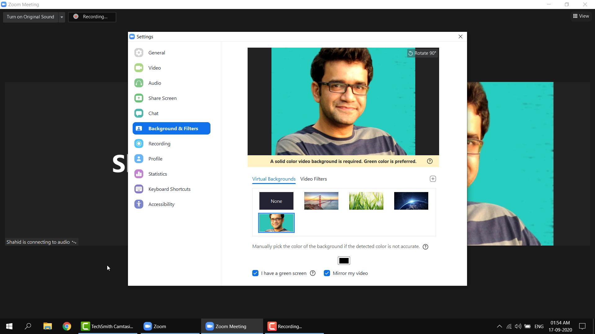virtual backgrounds screenshot