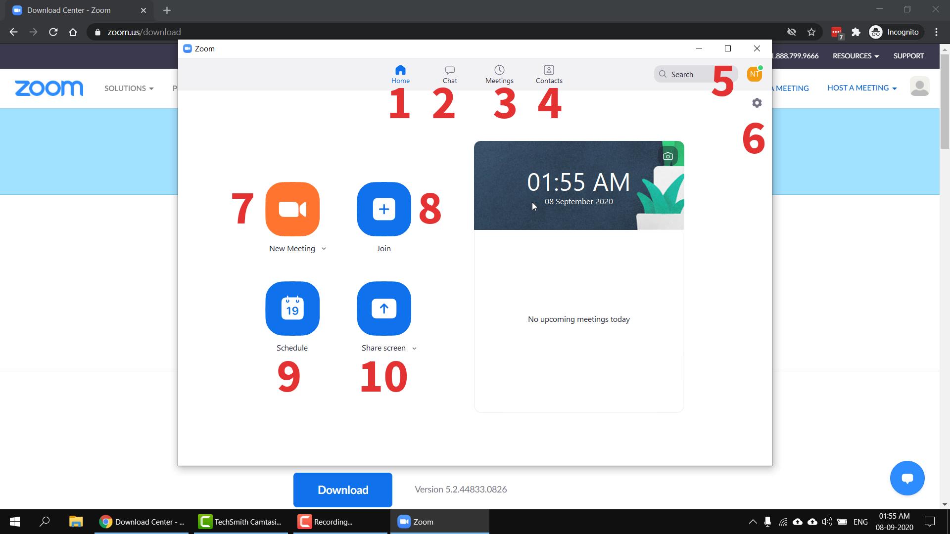 Zoom Cloud Meetings Main Page Screengrab
