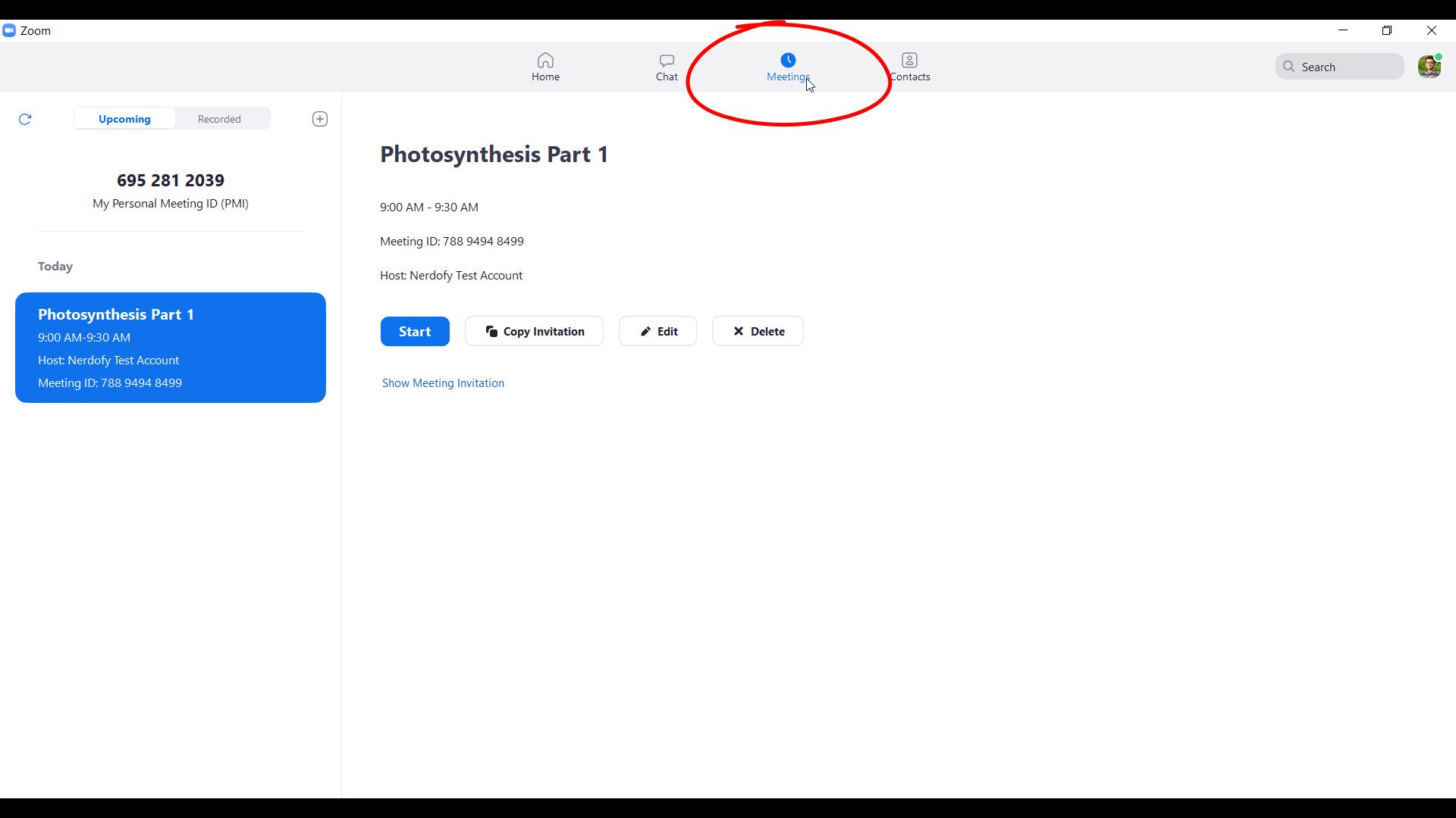 screenshot of meetings tab in zoom cloud meetings