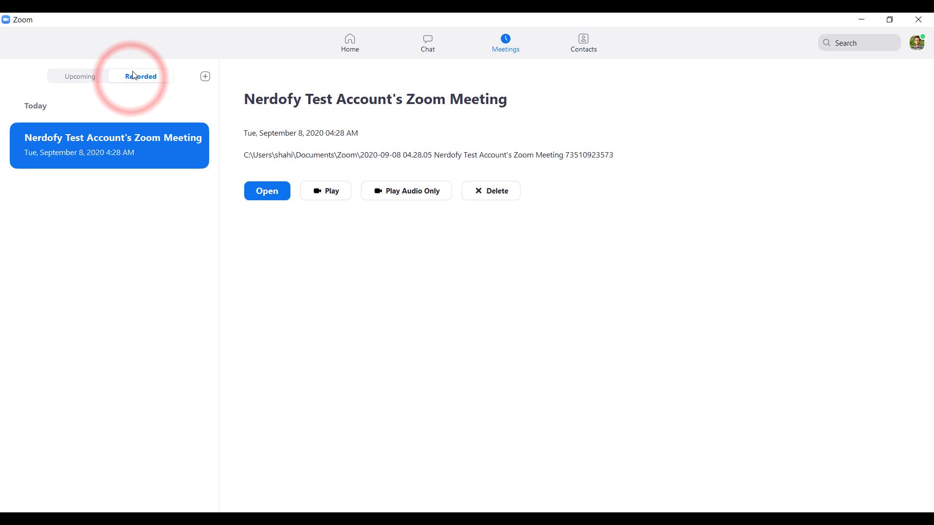 screenshot of school class recordings tab in zoom