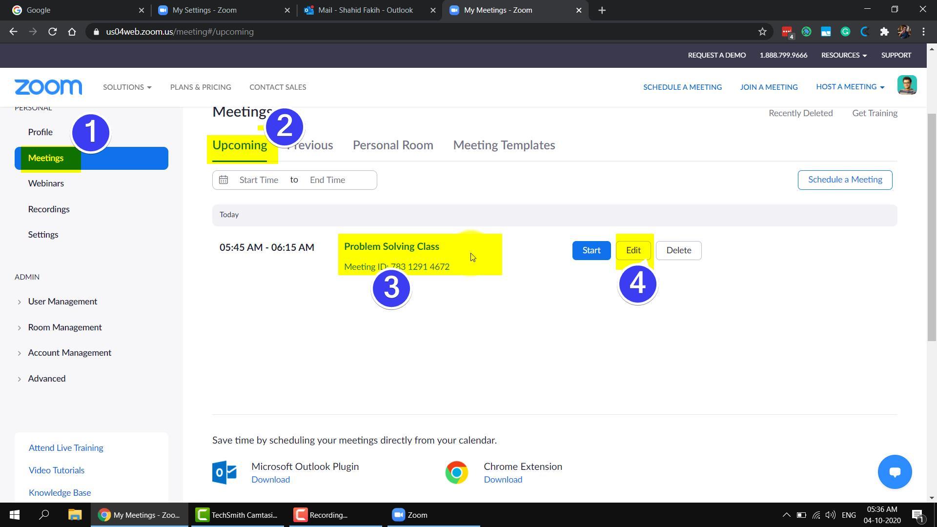 screenshot of Zoom Meetings Edit Screen