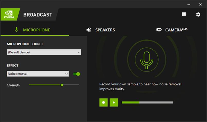nvidia broadcast RTX Voice app screenshot