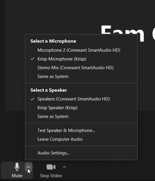 Krisp Microphone Selected in Zoom Meetings